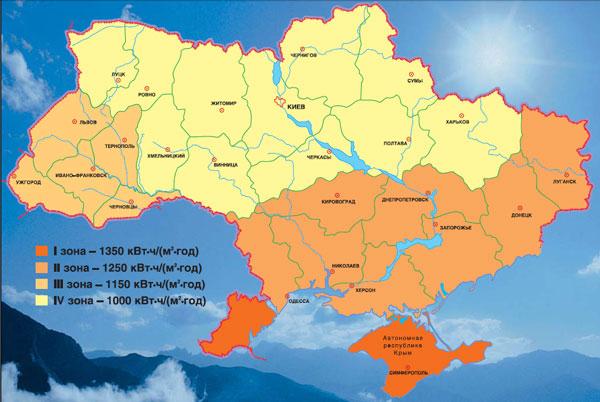 Карта солнечной радиации для Украины