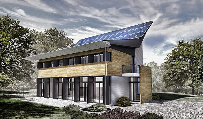 Ультрасовременный экодом с солнечными панелями в Массачусетсе