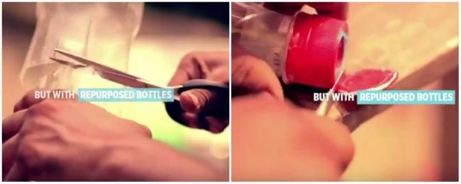 Затем отрезать половину бутылки и оставить часть с горлышком, а верх крышки отрезать ножницами.